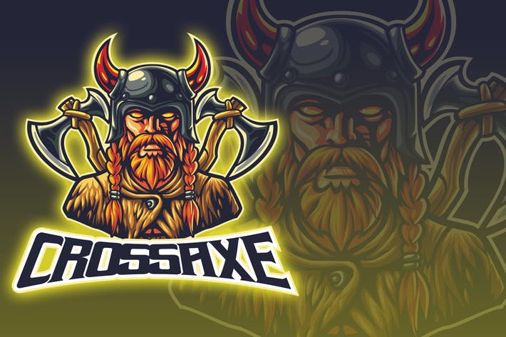 Thumbnail for Cross Axe Barbarian Warrior Esport Logo