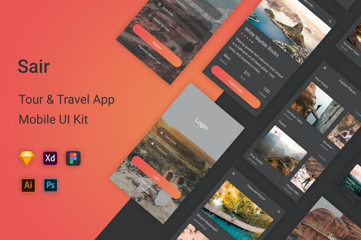 Thumbnail for Sair - Tour & Travel Mobile App UI Kit