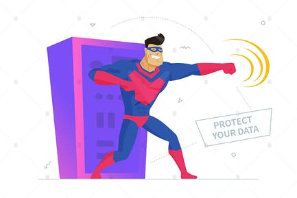 Cyber-Sicherheit - flaches Design Stil Illustration