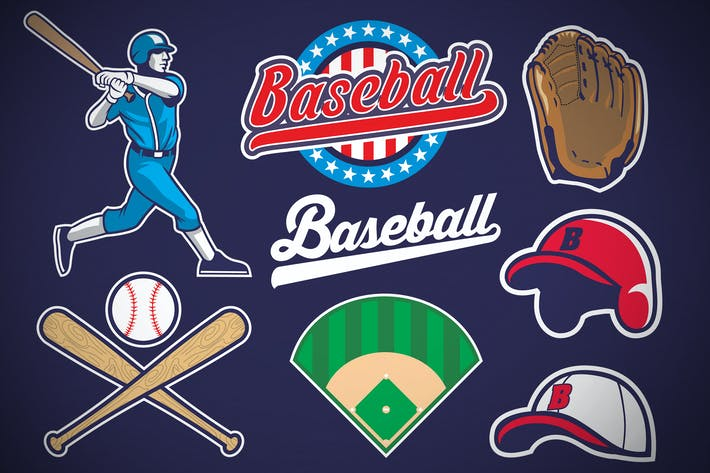 Thumbnail for set of baseball object in vector