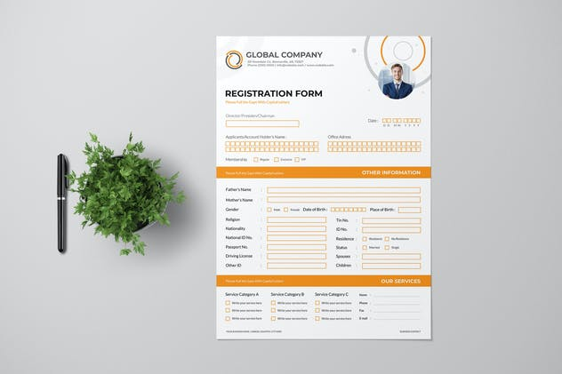 Clean Registration Form with Orange Accent