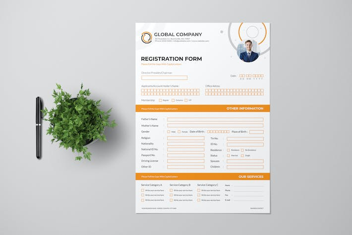 Thumbnail for Clean Registration Form with Orange Accent