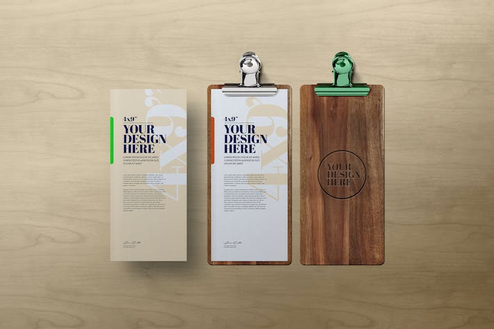 Thumbnail for 4x9 Card Mockup Wooden Clipboard
