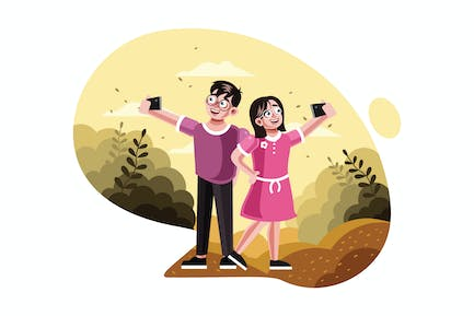 Brother and sister taking selfie picture
