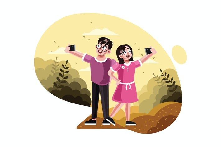 Thumbnail for Brother and sister taking selfie picture