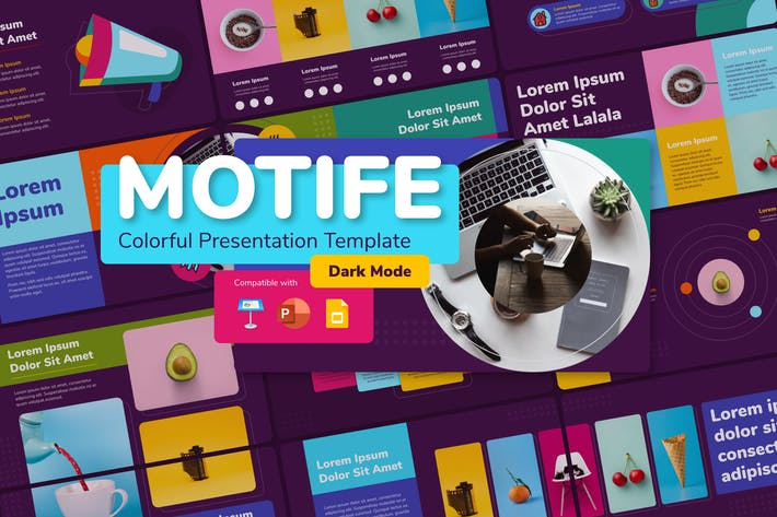 Thumbnail for MOTIFE (DARK) - Colorful Presentation Template