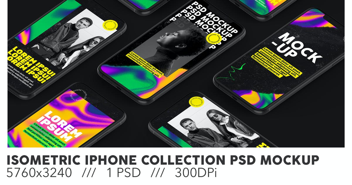 Download Isometric iPhone Collection PSD Mockup by Sinlatown