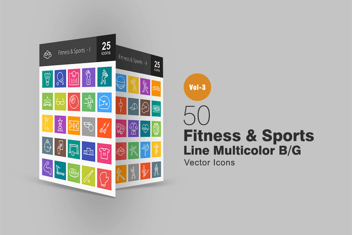 Thumbnail for 50 Fitness & Sports Line Multicolor Icons