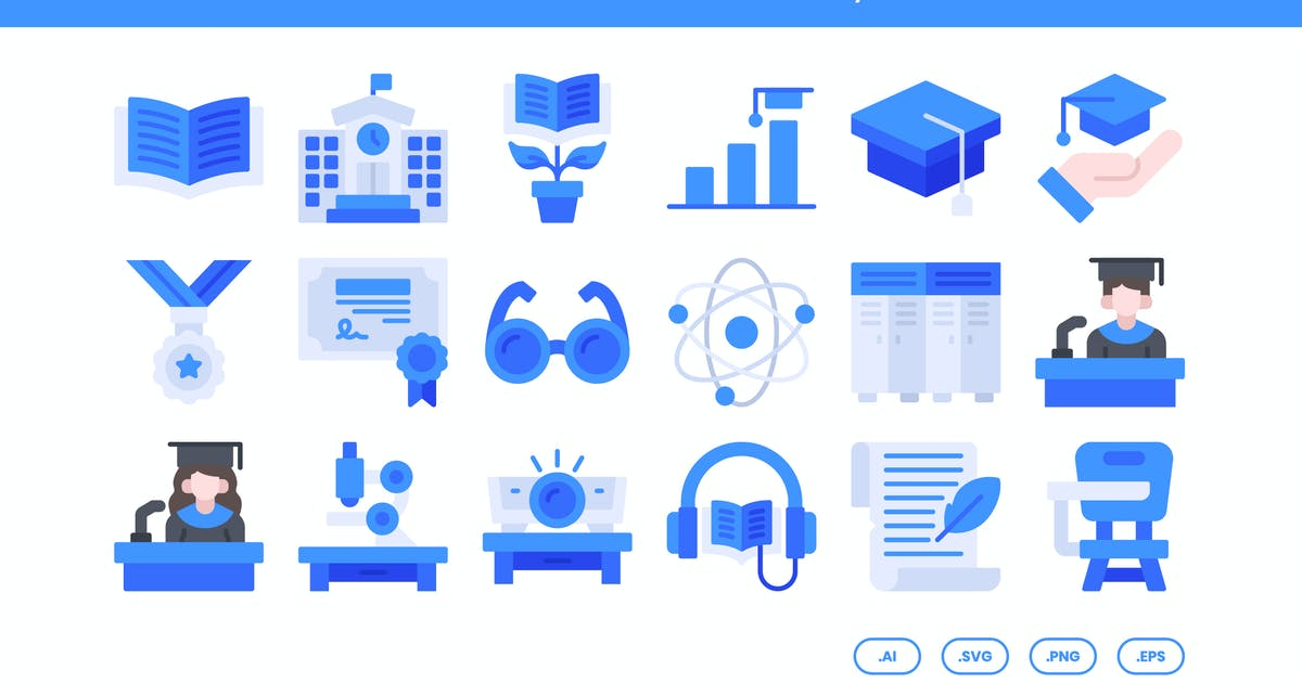 Download 20 College Icons Set - Flat by kmgdesignid