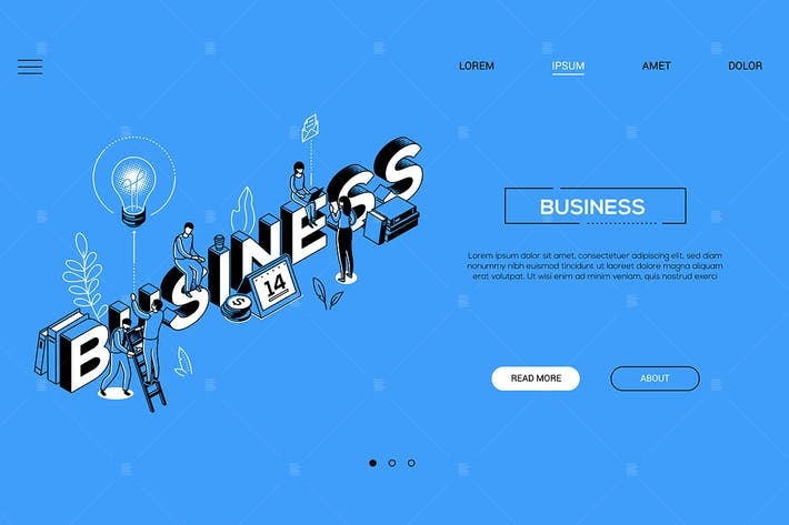 Thumbnail for Business - line design style isometric web banner