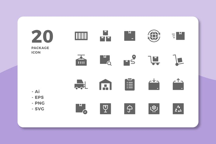 Thumbnail for 20 Package Icons (Solid)