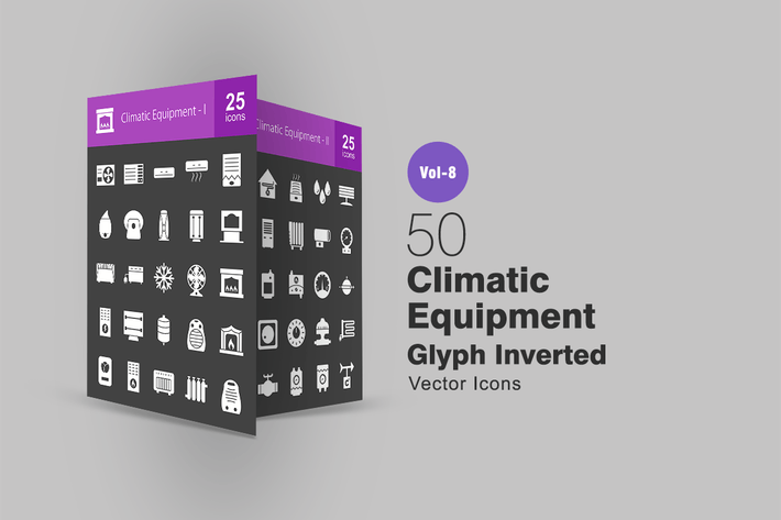 50 Climatic Equipment Glyph Inverted Icons