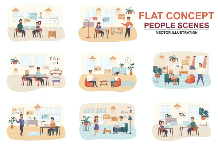 Collection Programming Flat Concept People Scenes