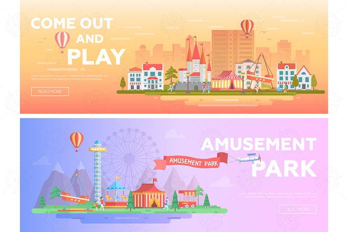 Thumbnail for Amusement park - set of flat vector banners