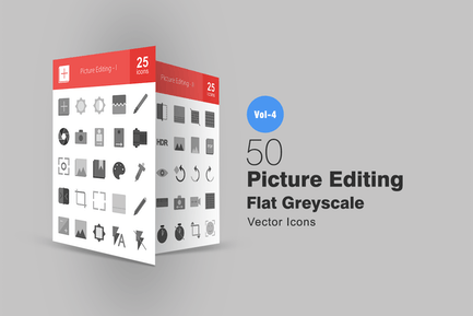 50 Picture Editing Greyscale Icons