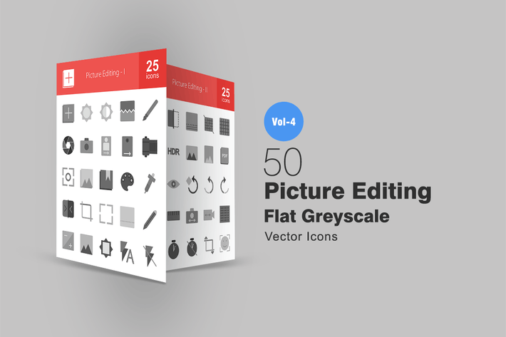 Thumbnail for 50 Picture Editing Greyscale Icons