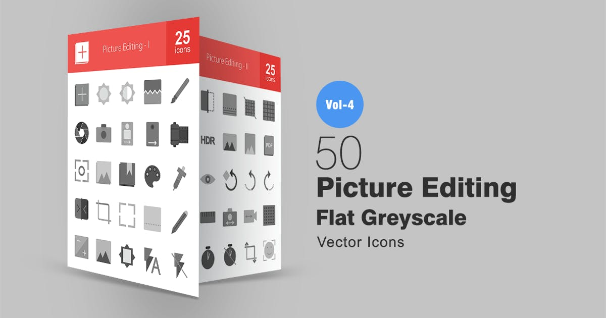 50 Picture Editing Greyscale Icons by Unknow