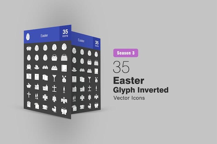 35 Easter Glyph Inverted Icons Season III