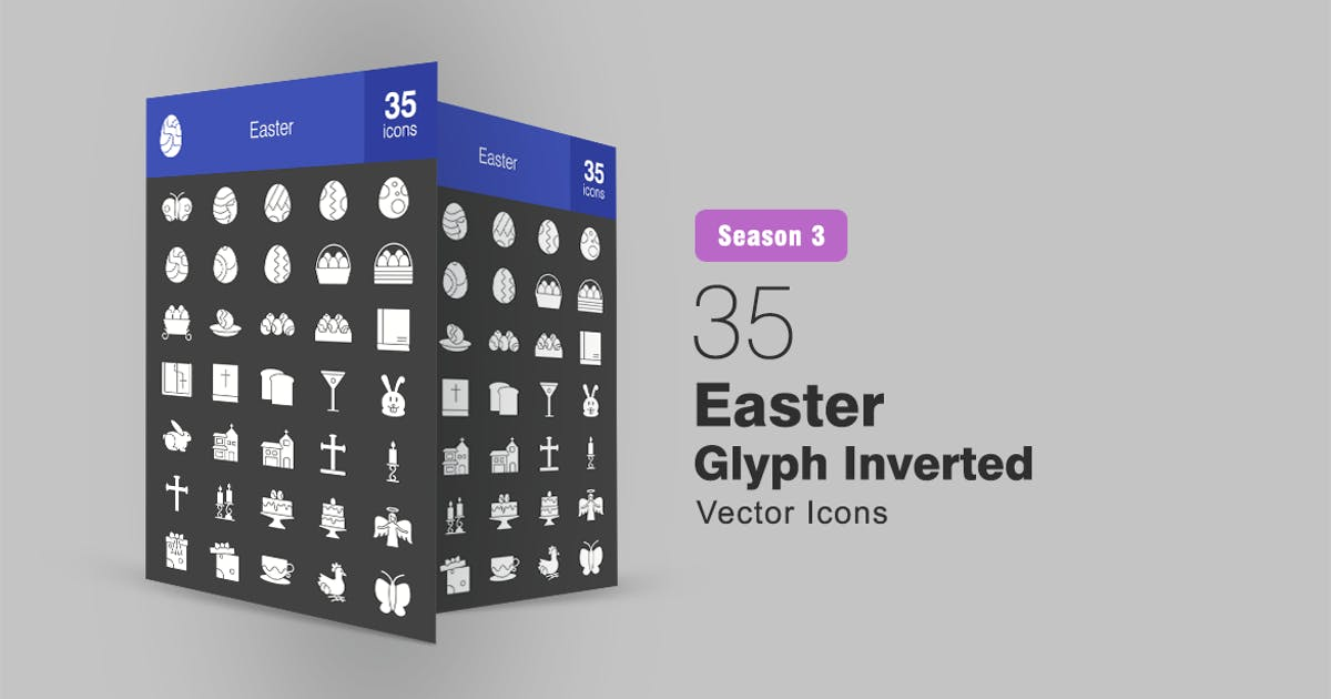 Download 35 Easter Glyph Inverted Icons Season III by IconBunny