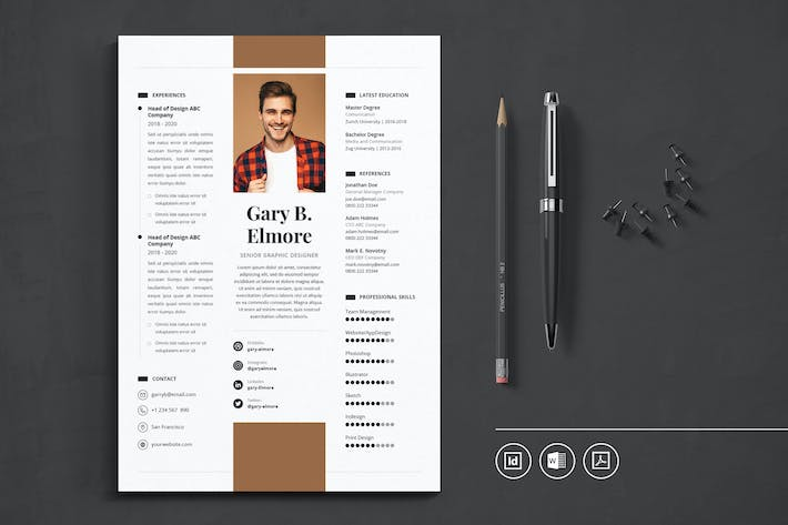 Thumbnail for Professional CV Resume Indesign Template Vol.27