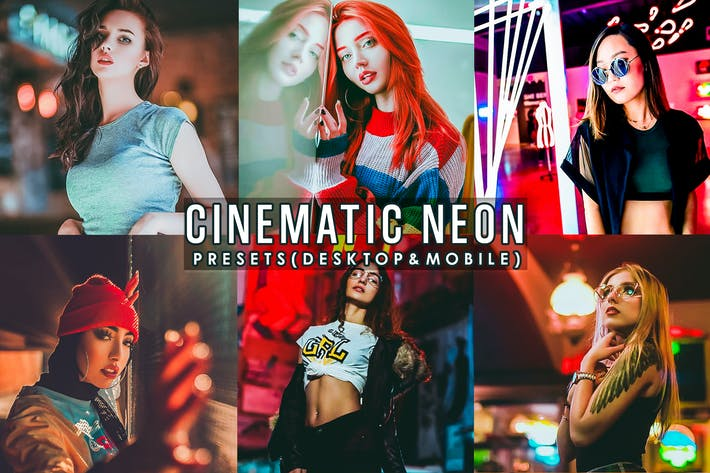 Thumbnail for Cinematic Neon Portrait Presets Lightroom