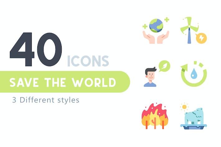 40 Save the world icon set
