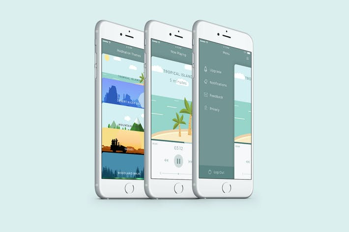 Thumbnail for Meditation App UI PSD