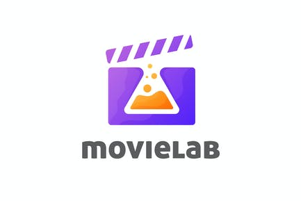 Negative Space Lab Flask and Clapper Board Logo