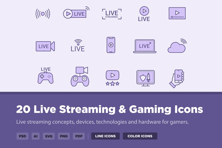 Thumbnail for 20 Live Streaming & Gaming Icons