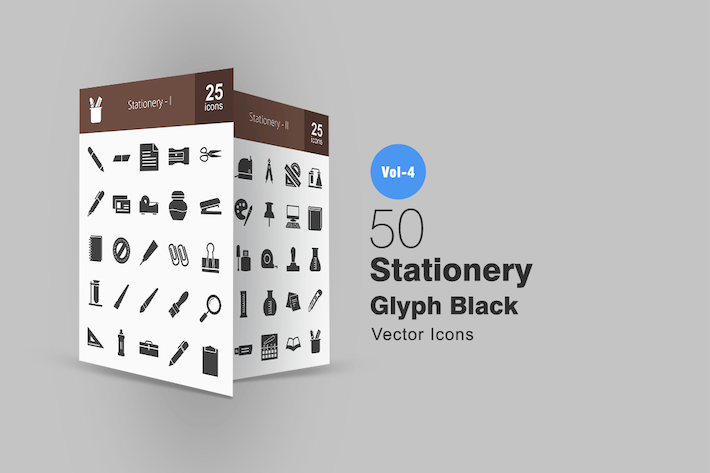 Cover Image For 50 Stationery Glyph Icons