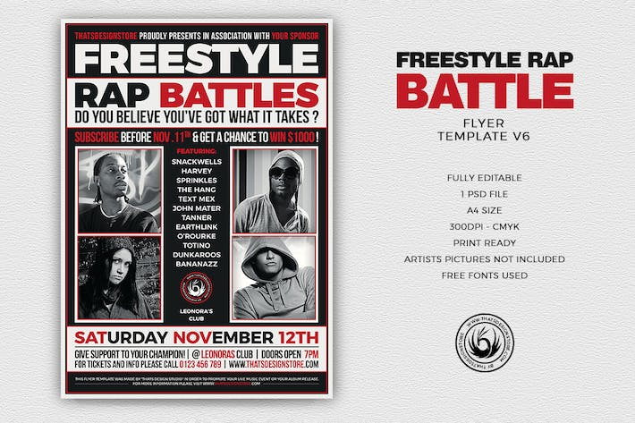 Thumbnail for Freestyle Rap Battle Flyer Template V6