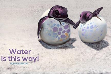 Schildkrötenjunges Handgezeichnet Digitalmalerei