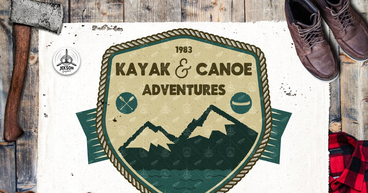 Download Canoe Mountain Logo / Vintage Camp Badge Patch by JeksonJS