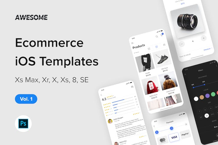 Thumbnail for Awesome iOS UI Kit - Ecommerce Vol. 1 (Photoshop)