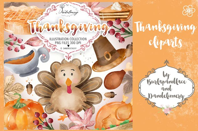 Watercolor Thanksgiving design