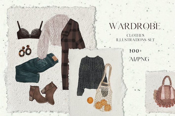 Thumbnail for Wardrobe - fashion, trendy, vector clothes set