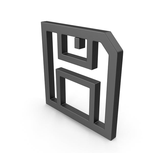Symbol Floppy Disk Save Button Black