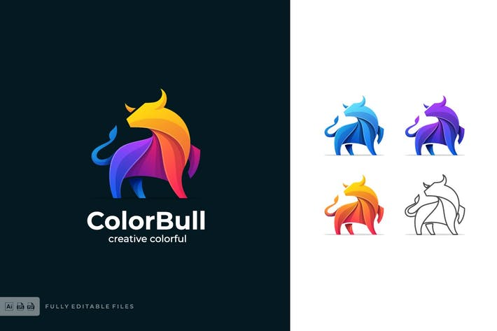 Thumbnail for Bull Color Shape Logo Template