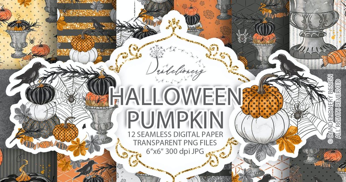Download Happy Halloween digital paper pack by designloverstudio