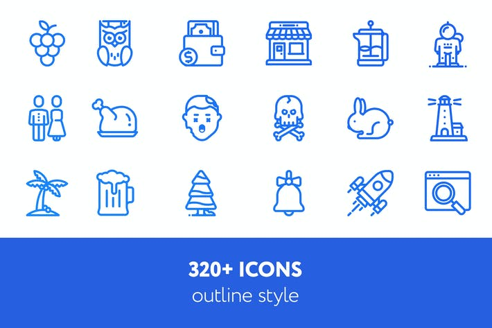 Thumbnail for 320 + Icons Umrissstil