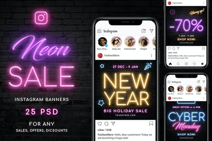 Thumbnail for Neon Sale Instagram Banners