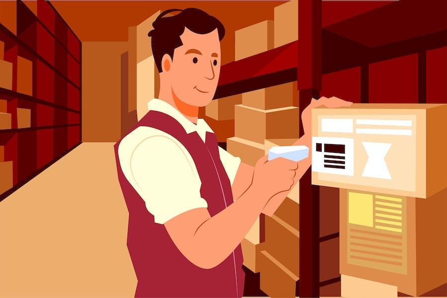 Warehouse worker scanning box at camera