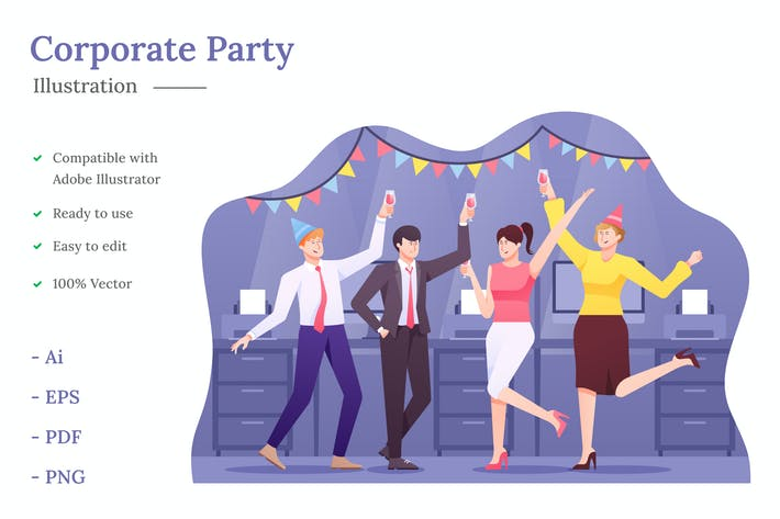 Corporate Party Illustration