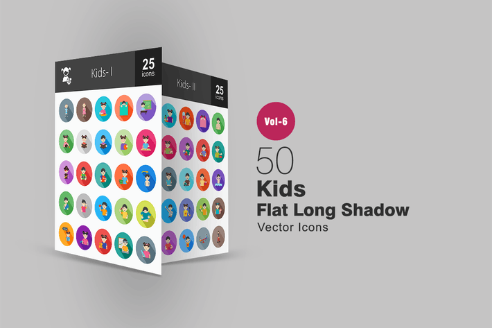 Thumbnail for 50 Kids Flat Shadowed Icons