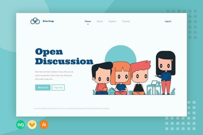 Thumbnail for Discussion Team - Website Header - Illustration