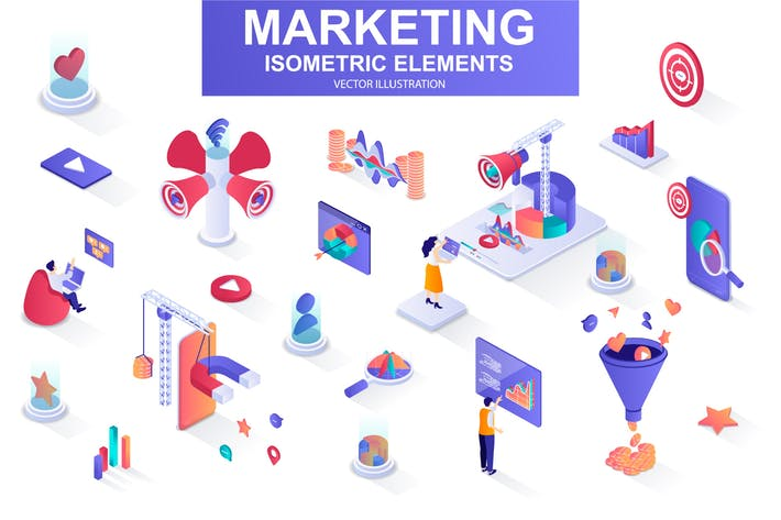 Thumbnail for Marketing Strategy Isometric Design Elements