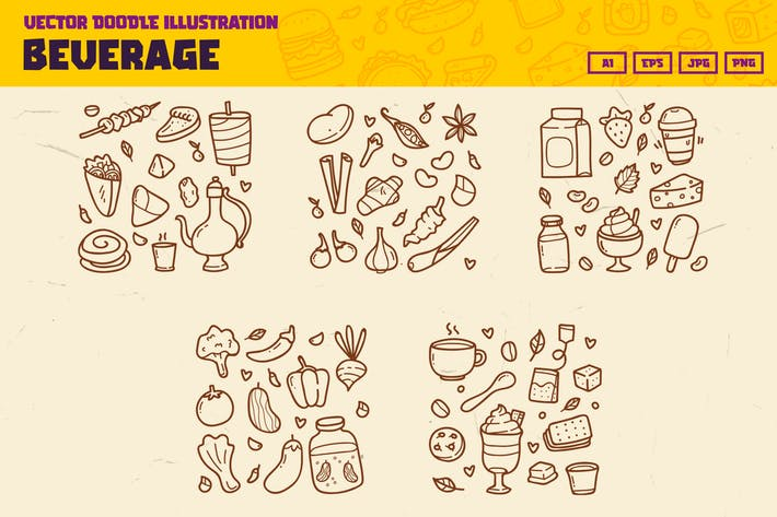 Thumbnail for Food and Beverage doodle collection
