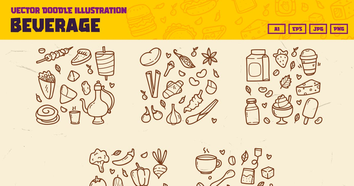 Download Food and Beverage doodle collection by Tokokoo