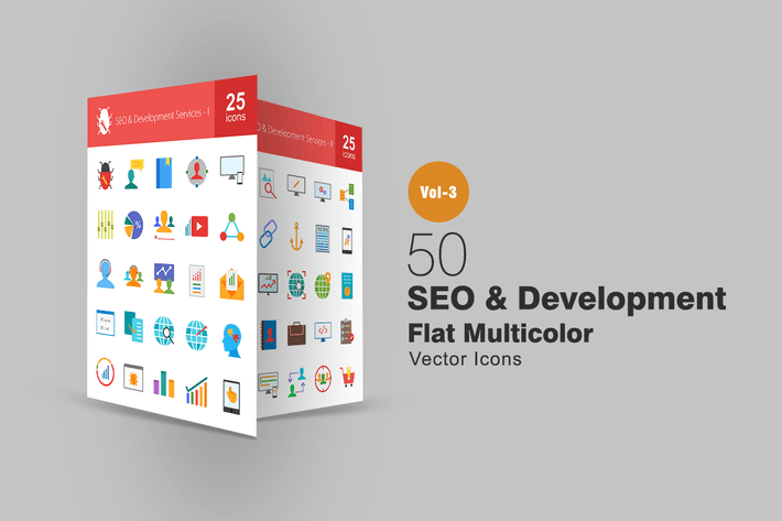 Cover Image For 50 SEO & Development Flat Multicolor Icons