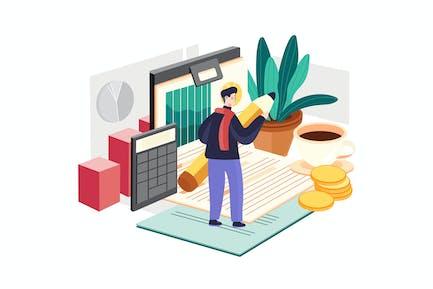 Financial Audit Illustration Concept